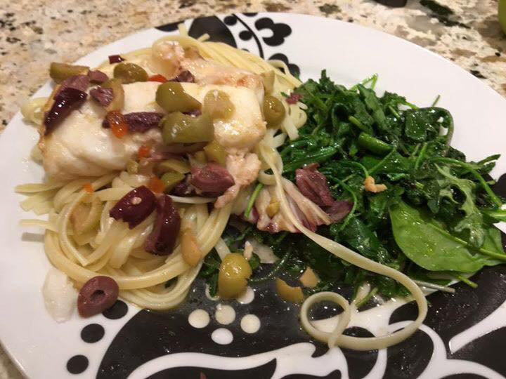 Cod with Kalamata and Green Olives in Lemon Sauce!